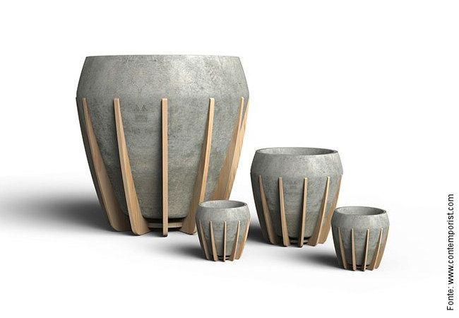Vaso de Cimento c/ Estrutura de Madeira