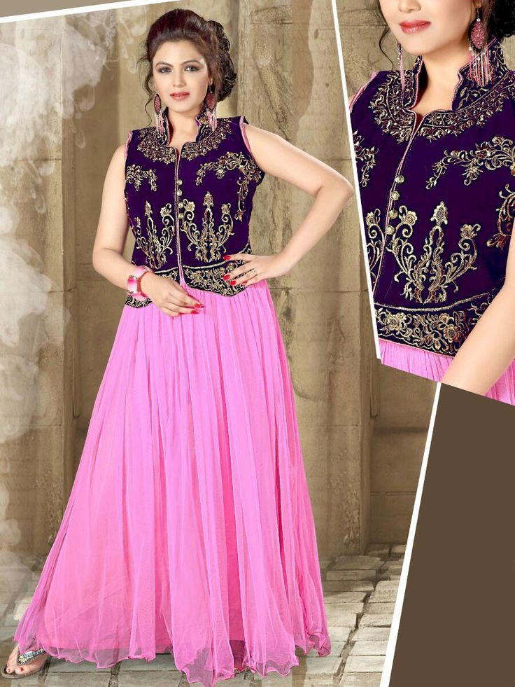 Net gown in pink color with purple color velvet jacket is garnished with zari thread work. Item Code: GTF3013 http://www.bharatplaza.com/new-arrivals/gowns.html