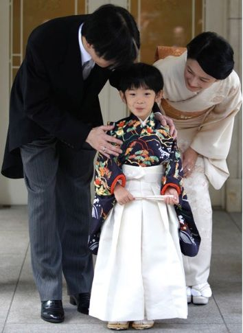 Japan Prince Akishino, Princess Kiko and the third child of Prince Akishino Prince Hisashito is , the only male grandchild.