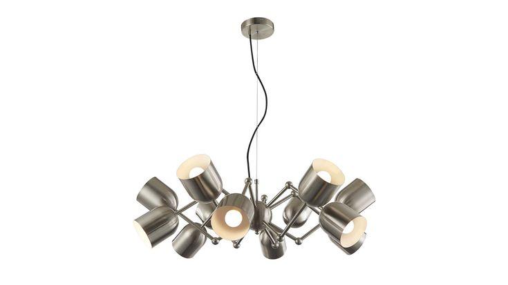 LED-Pendelleuchte Petto | Durchmesser ca. 80 cm, Maße Kopf ca. 10 x 12 cm | inkl. 12x E14-LED, jeweils 3 Watt / 300 Lumen | 3000 Kelvin | Energieeffizienzklasse A++ | nicht dimmbar | Wandschalter | Leuchtmittel enthalten | Leuchtenserie