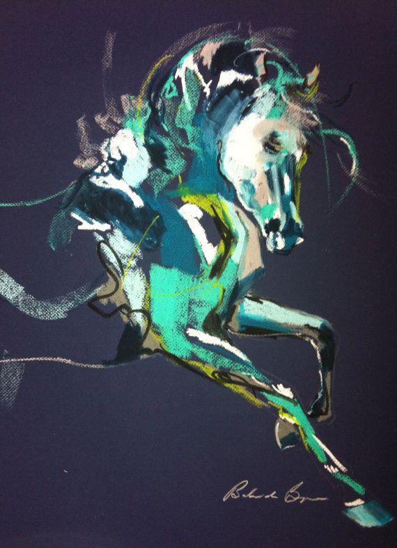 Flight or Fight Blue: Oil Pastel Artwork on navy blue Canson by Belinda Baynes