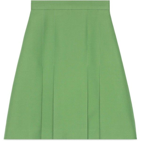 Gucci Wool-Silk Pleated Skirt ($1,010) ❤ liked on Polyvore featuring skirts, ready-to-wear, women, zip back skirt, green silk skirt, mint skirts, wool pleated skirt and silk pleated skirt