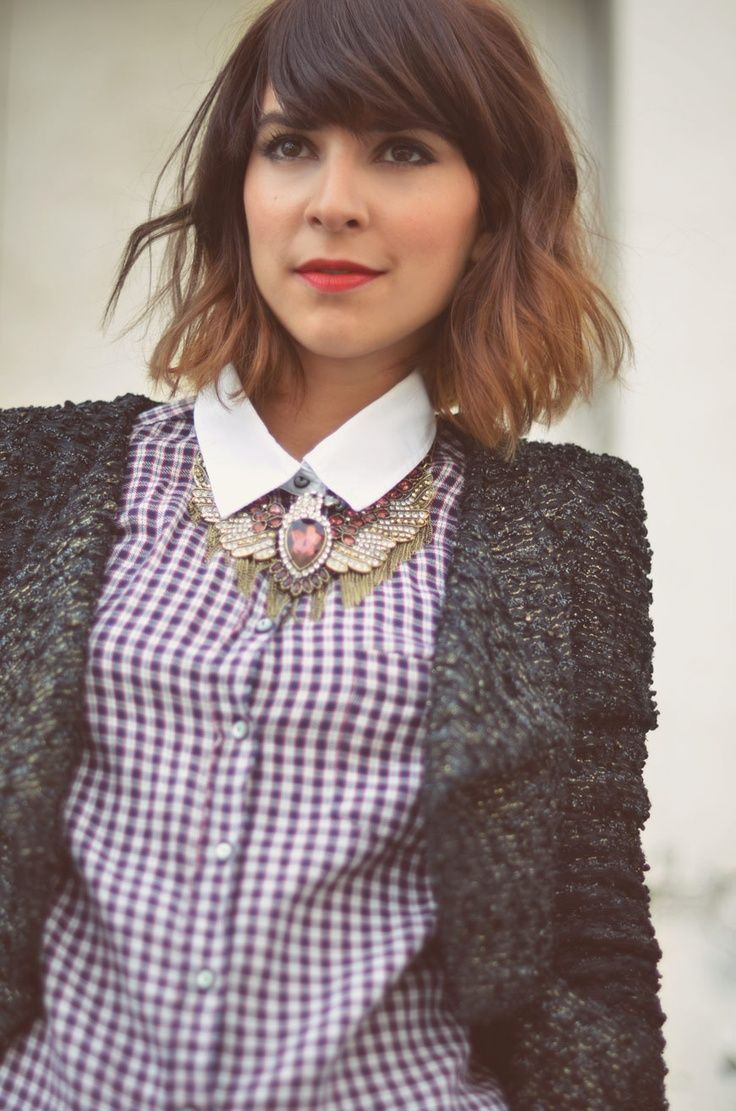 Short ombre hair and swept bangs hairspiration - Long bob ombre ...