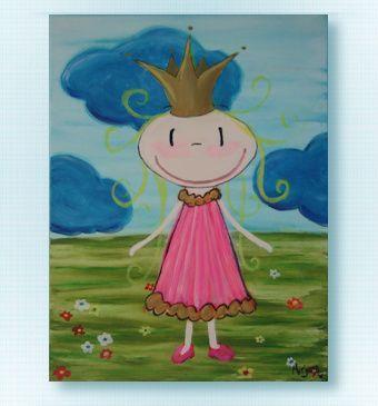 Prinses,  Formaat: 3D, 30 x 40 cm Canvas Geschilderd met  Acrylverf, voorzien van vernislaag