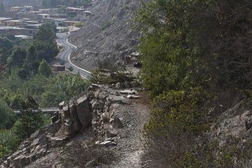 南米6か国を通過する古代インカの道「カパック・ニャン(Qhapaq Nan)」のペルー、シエネギージャ(Cieneguilla)の古代遺跡付近(2012年12月12日撮影)。(c)AFP=時事/AFPBB News