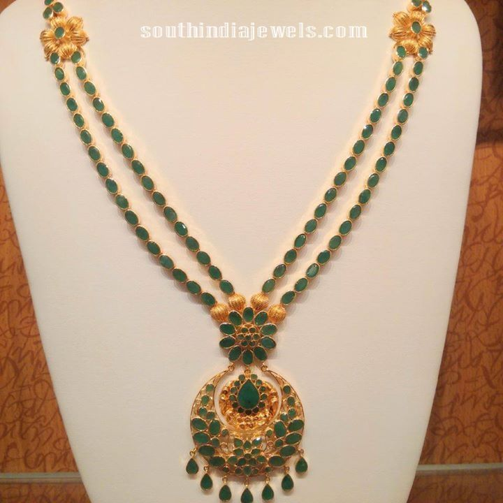 Gold Multilayer emerald haram with side floral mogappu