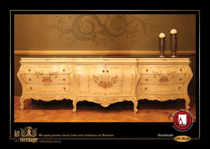Italian Buffet: Entirely handmade, beech wood buffet with very delicate hand carvings and hand painted natural shapes with a special white color finish. #ArtHeritageGallery #Classic #Handmade #Home #Furniture #Luxury #Lifestyle #Italian #Buffet #Beechwood #Handcraving #Handpainting #Natural #Shapes #Special #White #Color #Finish