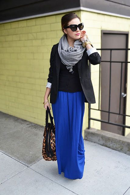 a fitted blazer and a pretty scarf make a maxi skirt look more professional