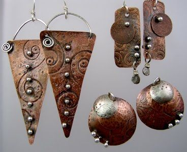 Great designs with mixed metals and rivets  ||  Fierce Connections - Fri, Feb 18 - Using plain and textured metal, cut out a variety of forms. Explore using disc cutter and dapping block. Add layer after layer of contrasting metals and using various connections, combine the elements. Add beads for texture and color.