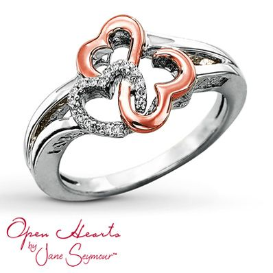 Open Hearts by Jane Seymour® Diamond Heart Ring this may be a christmas present to me. now i love it :  )
