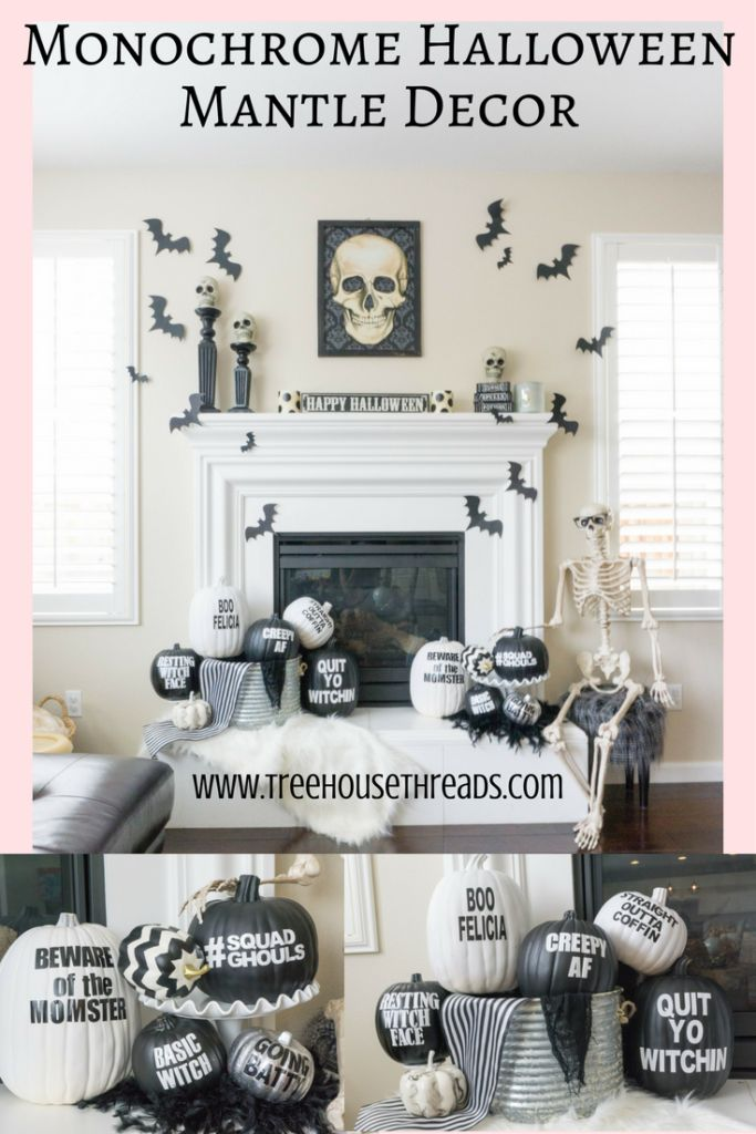 Black and White Halloween Mantle Decor -  Treehouse Threads, Funny pumpkin puns, monochrome, chic, DIY, easy, party, skulls, bats, fireplace, free printables