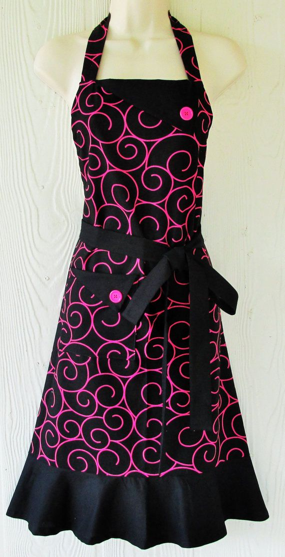 Black and Pink Apron, Womens Full Apron , Retro Style Apron, KitschNStyle
