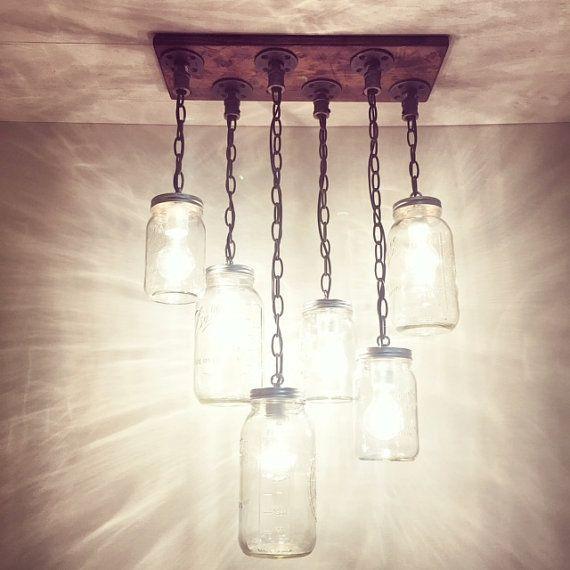 Industrial/Rustic/Modern Handmade Mason Jar Wood Chandelier/Hanging Pipe Pendant Light/Kitchen/Bar