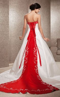 A-LINE STRAPLESSS CHAPEL TRAIN WEDDING DRESS WITH RED LACE BACK AND TRIM,  ALSO COMES IN A VARIETY OF OTHER COLORS BY LIGHTINTHEBOX.COM ~ THIS DRESS IS STUNNING IN RED I THINK......:)