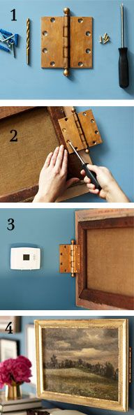 How To Hide Unsightly Wall Panels - tutorial shows how to attach hinges to a picture and wall so switches, access panels, etc. can be hidden, yet still accessible. *****This is not recommended for thermostats!*****