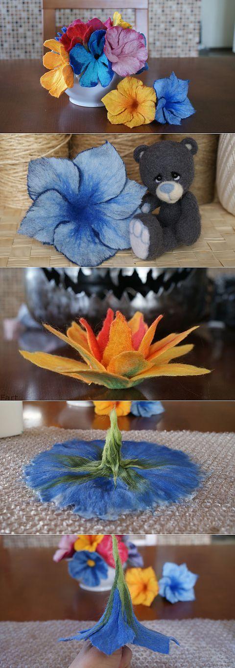 Цветы в технике мокрого валяния из шерсти. Фото мастер-класс.