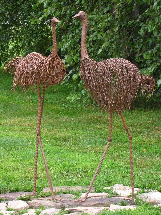 Nice Emu Set Of 2 Metal Garden Sculptures
