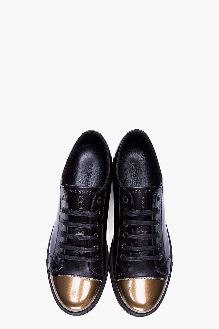 preppy Love this look on Big Sean Black men fashion mens fashion MARC  JACOBS Patent Gold Cap Toe Leather Sneakers Fall 2012 Fashion - Snap .
