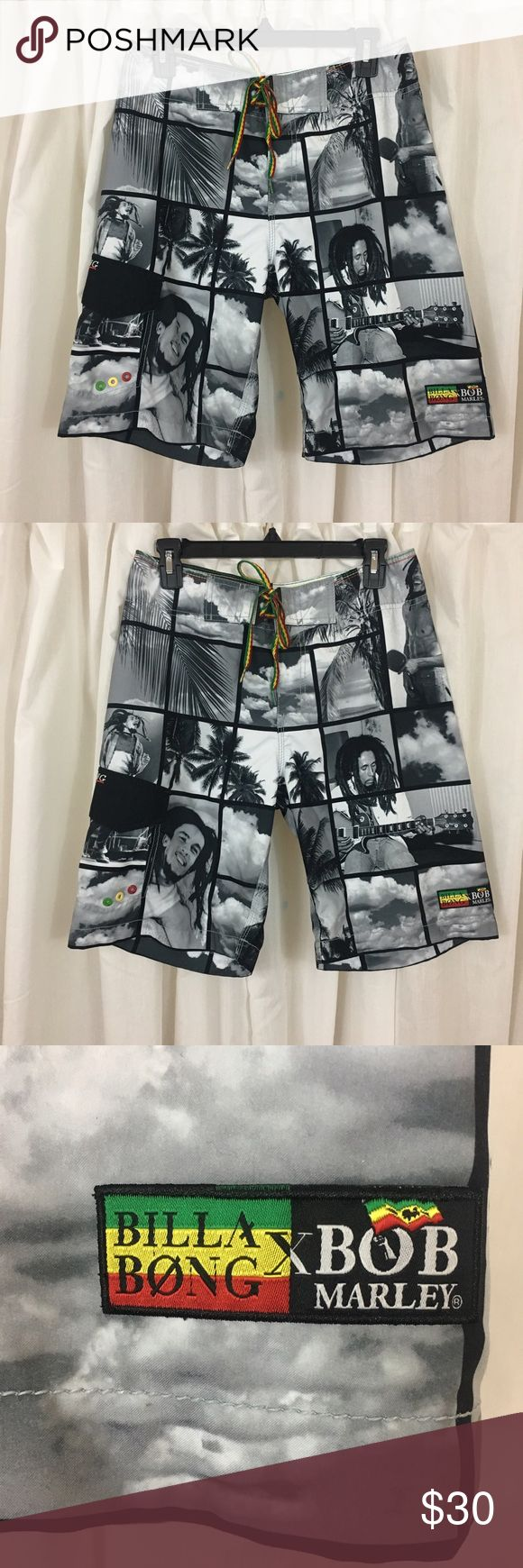 Billabong Bob Marley Board Shorts Beautiful detailed pictures of Bob Marley, Rasta colored stitching detail on waist, Velcro Closure on cargo pocket and fly, like new condition no sign of wear Billabong Swim Board Shorts