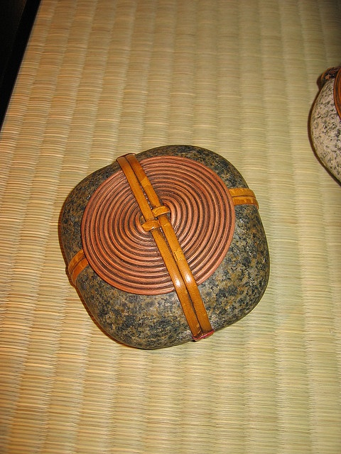 Bamboo wrapped rock: