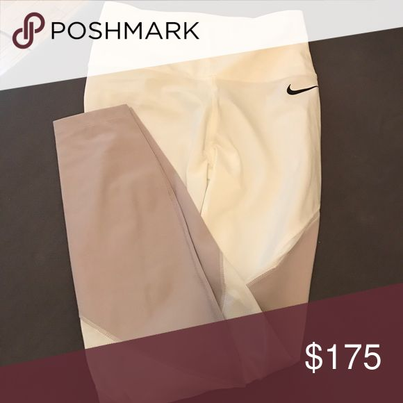 NWT✨Nike LaB Dri-Fit Women's Training Tights Awesome limited edition tights! No longer available in stores. New with tags. Mesh detailing. Beige and off white. Nike Pants Leggings
