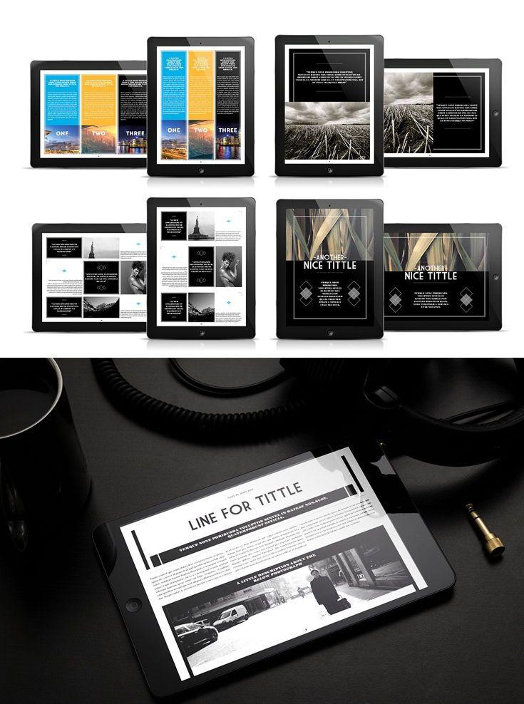 Elegant Digital Magazine Template Tablet Black White Portrait Landscape Indesign Free Fonts Used Ad