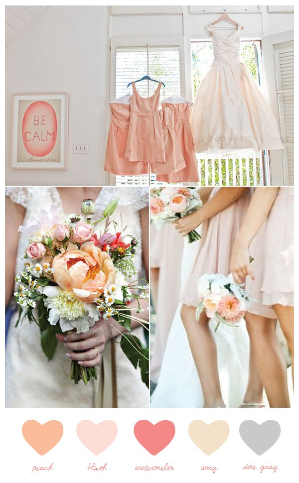 peach and blush with ivory, gray and a punchy shade of watermelon