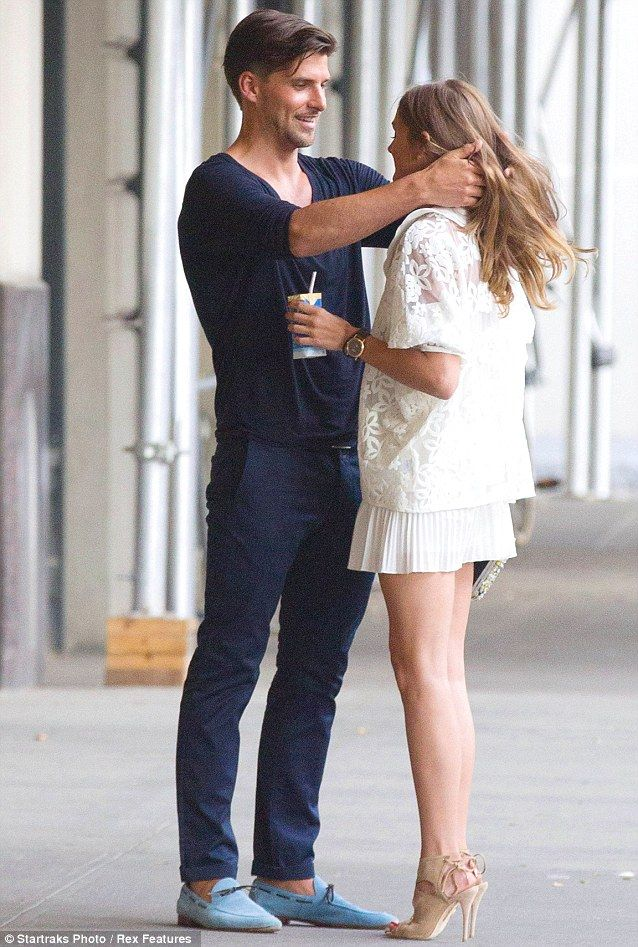 So in love... Olivia Palermo and her boyfriend Johannas Huebl enjoyed a romantic stroll around New York City on Monday