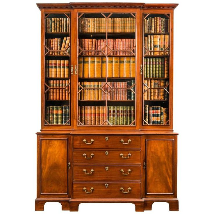 Georgian Mahogany Breakfront Bookcase   From a unique collection of antique and modern bookcases at https://www.1stdibs.com/furniture/storage-case-pieces/bookcases/