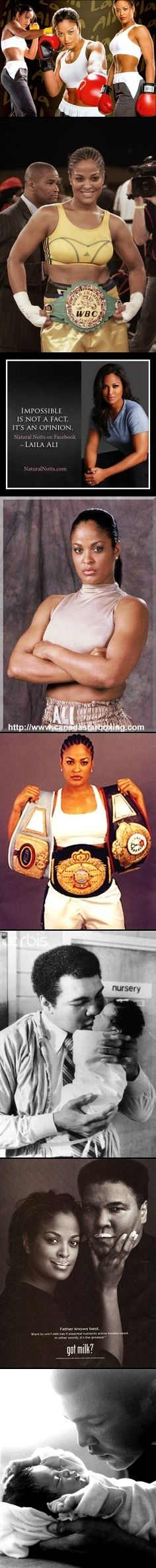 Laila Amaria Ali (born Dec 30, 1977) is a retired  American professional boxer.Ali began boxing when she was 14 yrs old.  When she first told her father, Muhammad Ali, that she was planning to box professionally, he was unhappy about her entering such a dangerous profession. However, Laila assured him she would be fighting women, not men, and that she had his genetics. CAREER BOXING RECORD - 24 WINS (21 by TKO) 0 Losses.