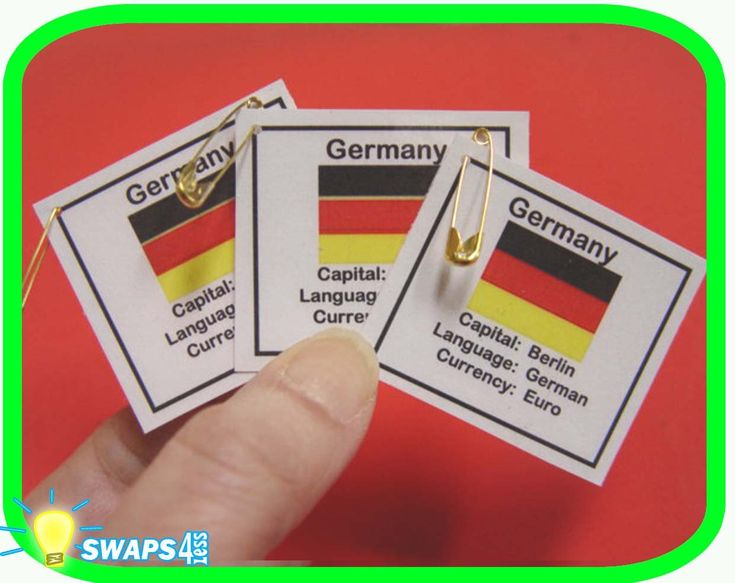 Thinking Day Germany: FuN FaCts!    These are so easy and fun to make. Your Swaps4Less kit will include the following materials to make 20 Germany Fun