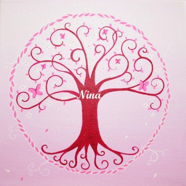 tableau arbre de vie rose dessine moi un prenom tableaux pr noms kid s room dessine moi un. Black Bedroom Furniture Sets. Home Design Ideas