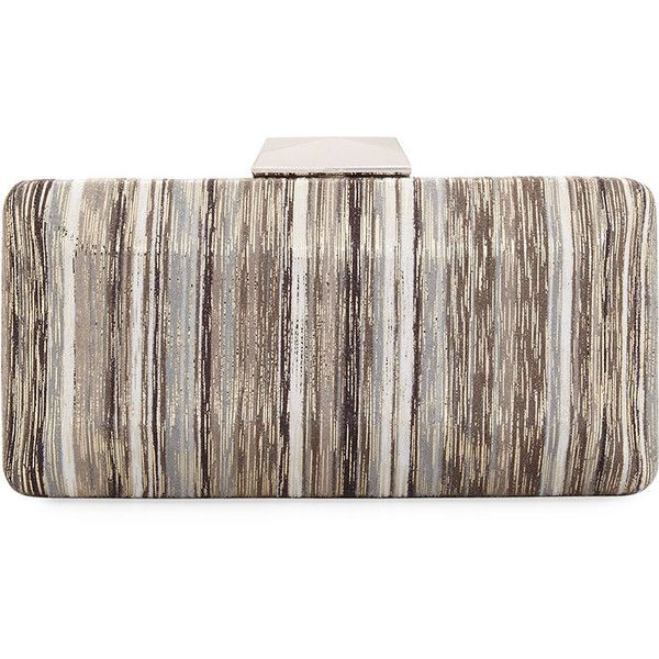 Neiman Marcus Multicolor Metallic Box Clutch Bag ($40) ❤ liked on Polyvore featuring bags, handbags, clutches, grey, grey clutches, metallic purse, stripe purse, hard clutch and metallic clutches