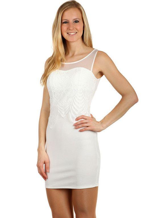 38ad2d3556f Krátké šaty s krajkou ozdobou