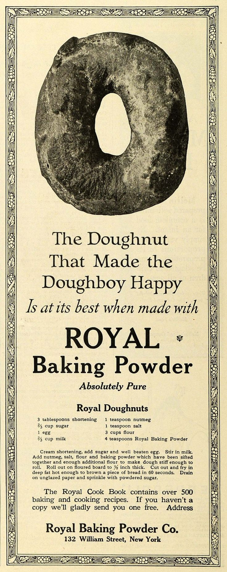 1919 Ad Doughnut Recipe Food Products Royal Baking Powder Donut Sweets TMP2