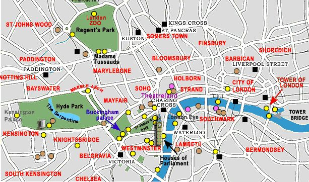 Tourist map of London let tourist explore most popular tourist attractions in London. This map can help tourist in finding best places to eat, live have ent