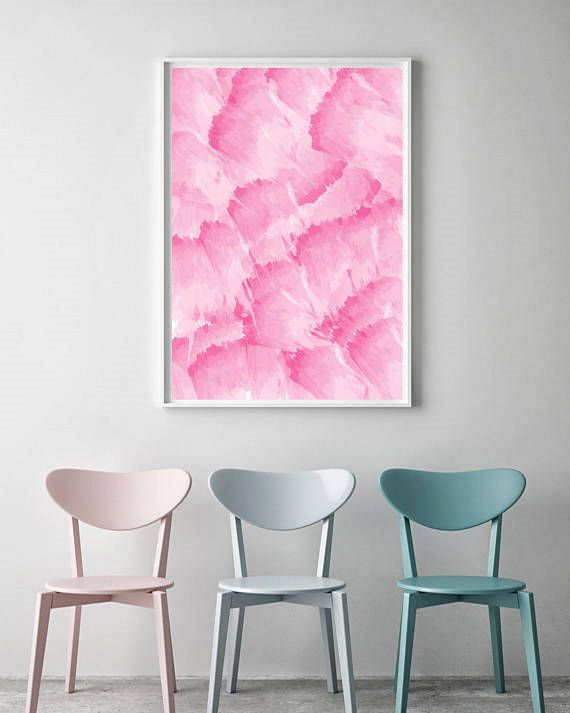 Printable Pink Watercolour Abstract Brush Art Print - Instant Digital Download Pink Floral Abstract Art Print - Pink Watercolour Wall Art
