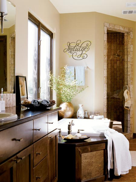 Indulge Vinyl Lettering Home Decor Decal On The Wall By The Bathtub