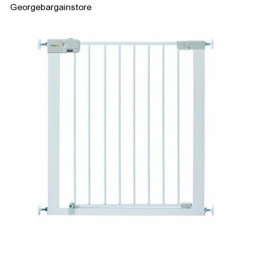 Safety Metal Gate Baby Pet Wide Walk Child Dog Thru Door Fence White Infant Tall