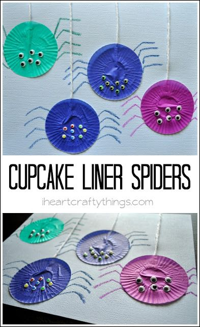 Turn Cupcake Liners into a colorful and fun Spider Craft for Kids. Fun rainy day kids craft or for any time of the year.