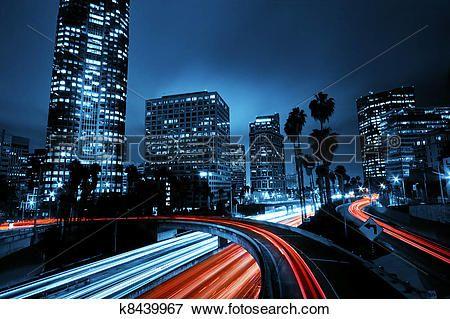 los angeles, urbain, ville, à, coucher soleil, à, autoroute, trafic Voir Image Grand Format