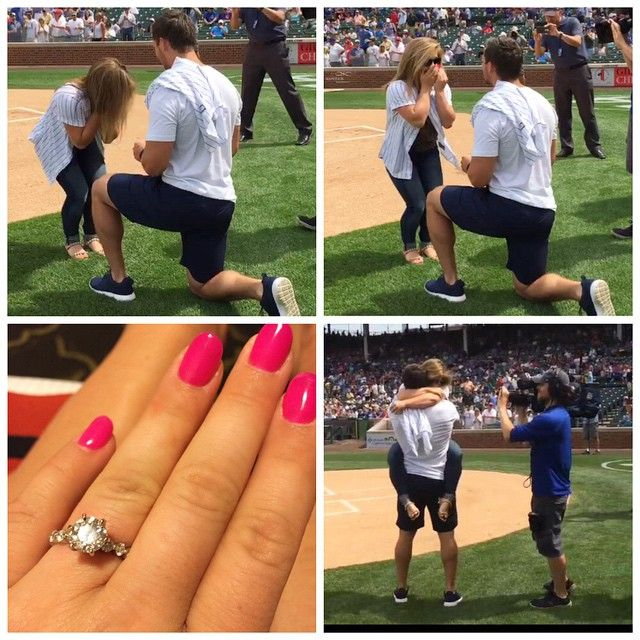 Shawn Johnson engagement ring is a round cut diamond, prong setting and a pave diamond band.