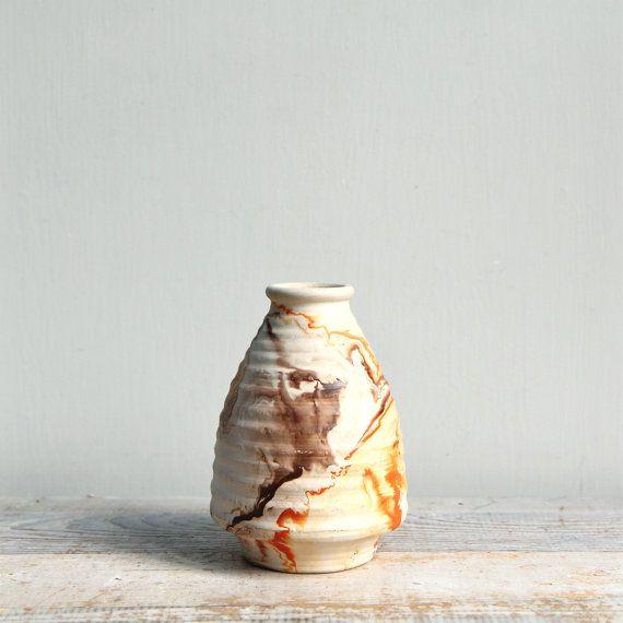 Vintage Nemadji Pottery Vase - handpainted