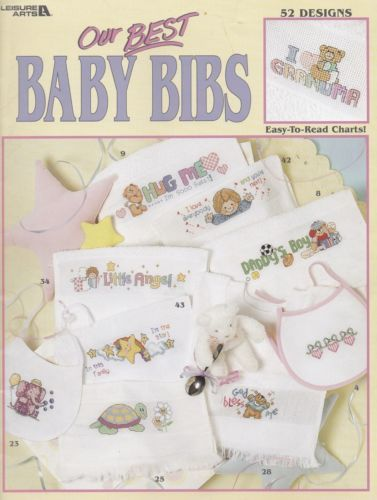 Our-Best-Baby-Bibs-Cross-Stitch-Patterns-LA-3272-for-Personalizing-Baby-Stuff