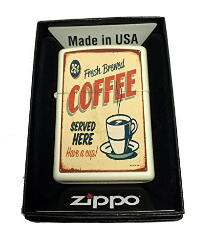 Buy Zippo Custom Lighter - 1950's Vintage Coffee Poster - Regular Cream Matte - Topvintagestyle.com ✓ FREE DELIVERY possible on eligible purchases
