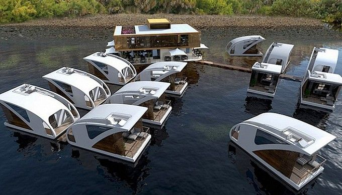Boat hotel features private catamaran pods   Hotel Interior Designs