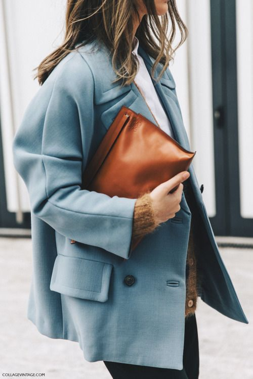Ice blue and camel - perfect mix and match colors for winter // Milan Fashion Week Street Style | Collage Vintage