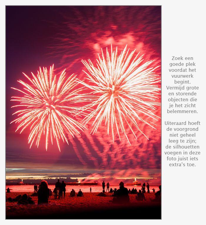 Zorg dat je een goede positie hebt voor het fotograferen van vuurwerk
