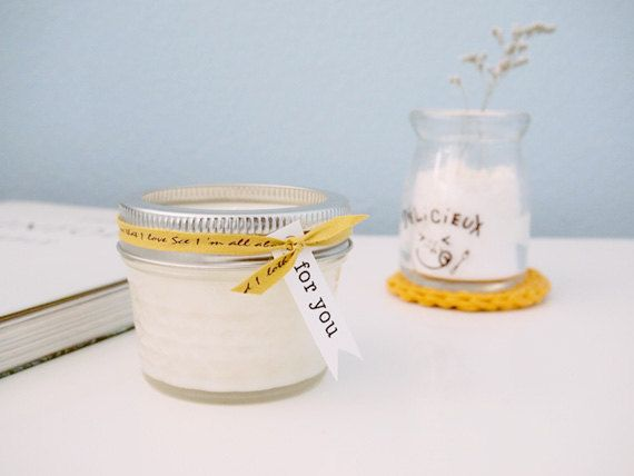 Wedding Favor Tags For Candles : ,wedding favor,holiday candle,party,Handmade 4oz mason jar soy candle ...