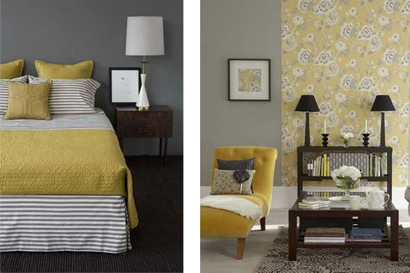 Grey walls yes black furniture yes would love a white duvet cover and mustard yellow - Furniture for yellow walls ...